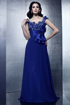 Affordable A-line V-neck Floor-length Dark Royal Blue Taline's Evening Dress