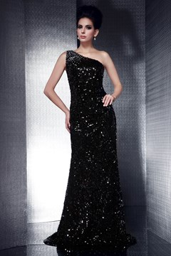 Ericdress Black Mermaid One-Shoulder Floor-Length Evening Dress