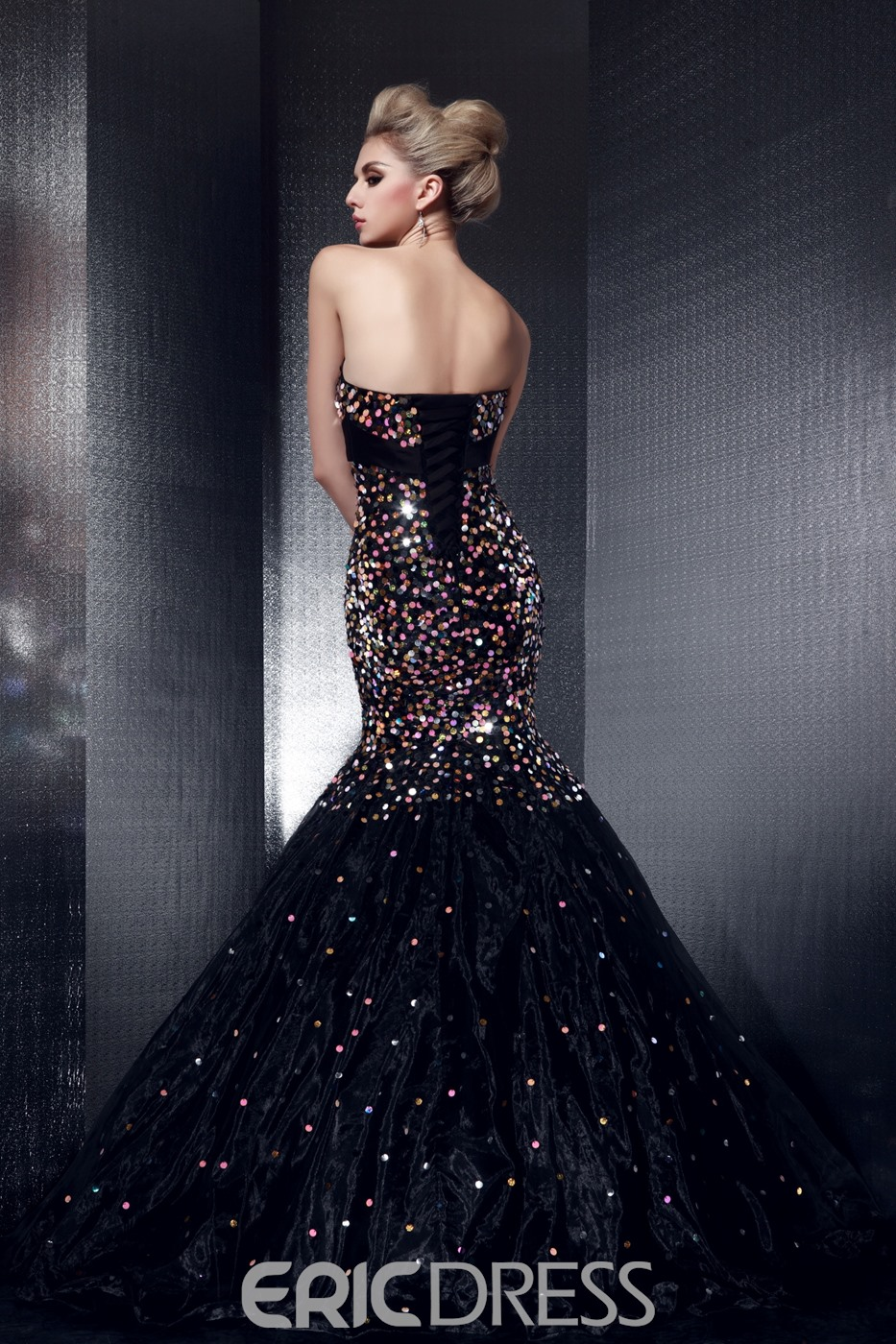 Elegant Mermaid Strapless Crystal Floor-length Evening Dress