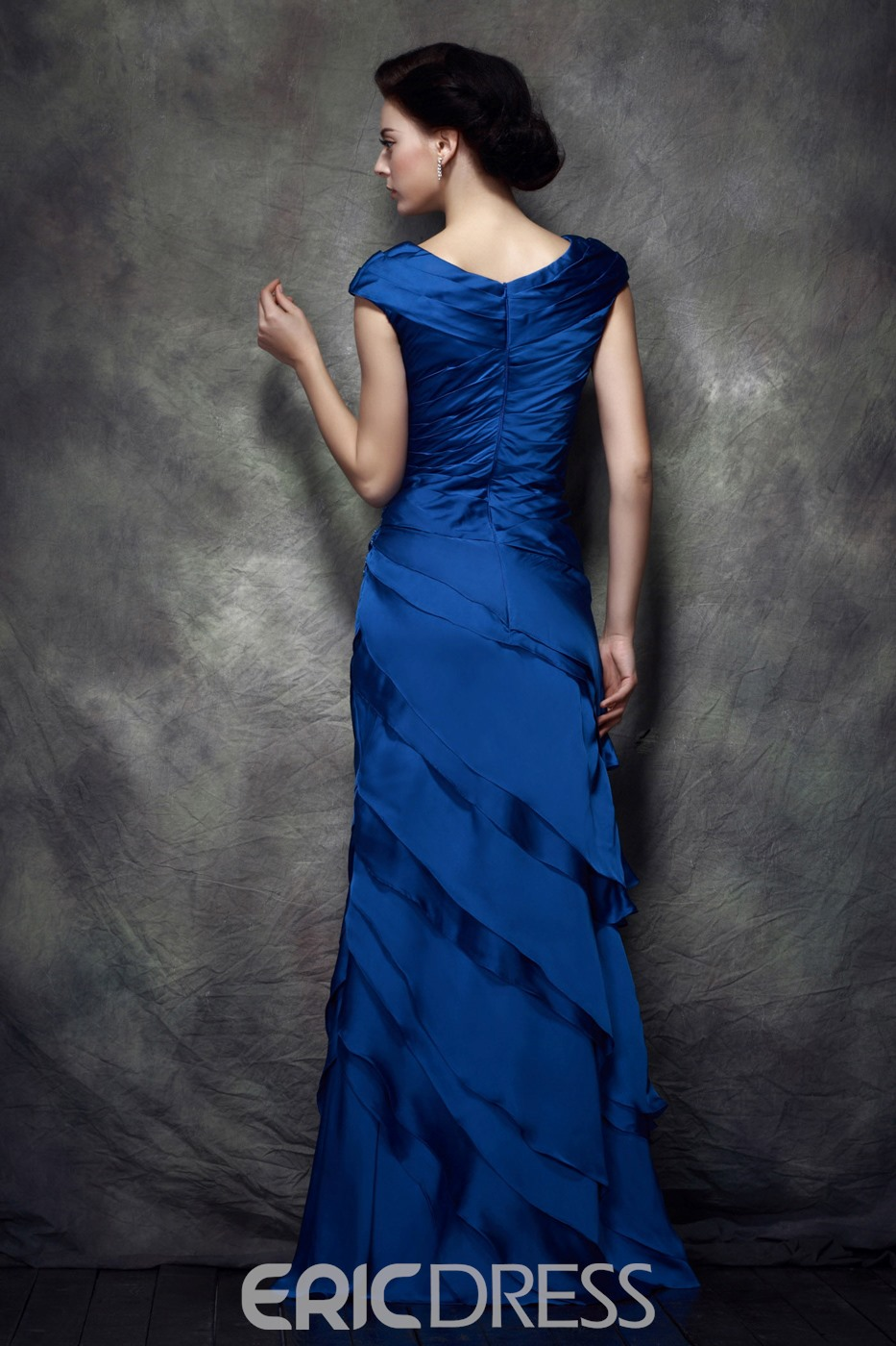 Attractive Ruched Tiered Sheath/Column Floor-Length Polina's Mother of Bride Dress