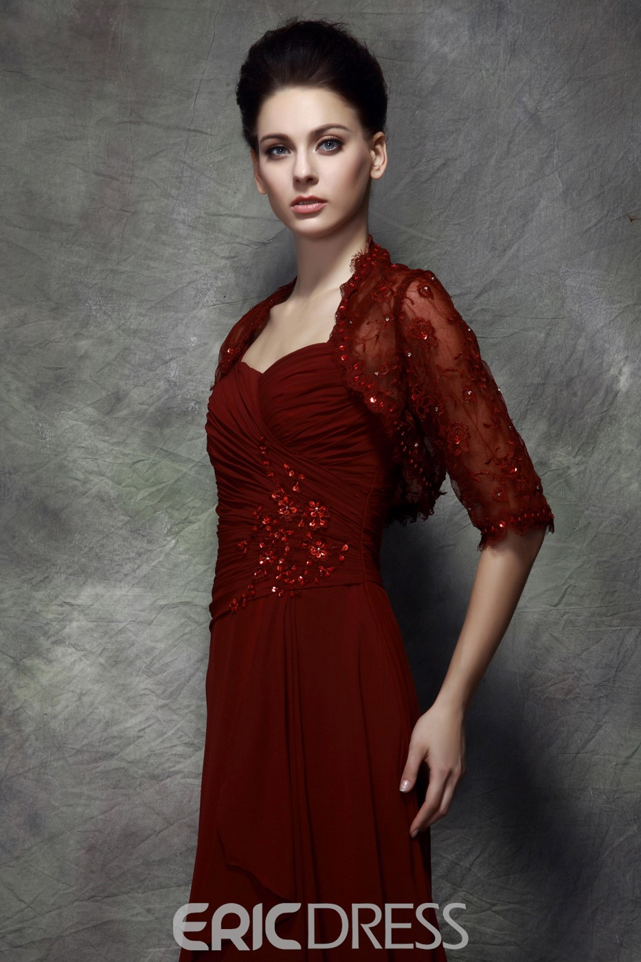 Graceful Sequined A-Line Sweep/Brush Train Straps Polina's Mother of the Bride Dress With Jacket/Shawl
