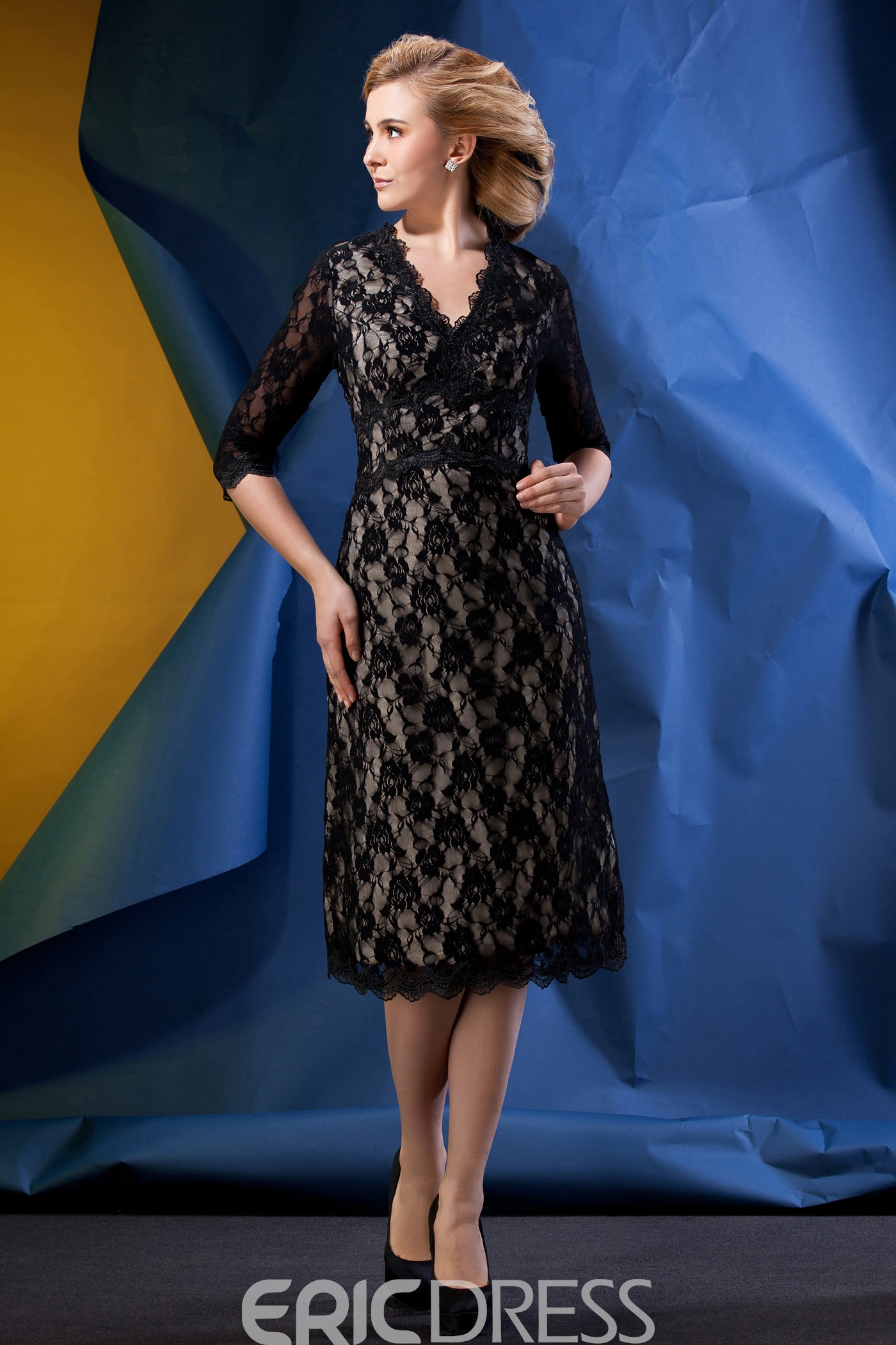 Romantic Lace Sheath/Column V-Neck Half-Sleeves Tea-length Alina's Mother of the Bride dress