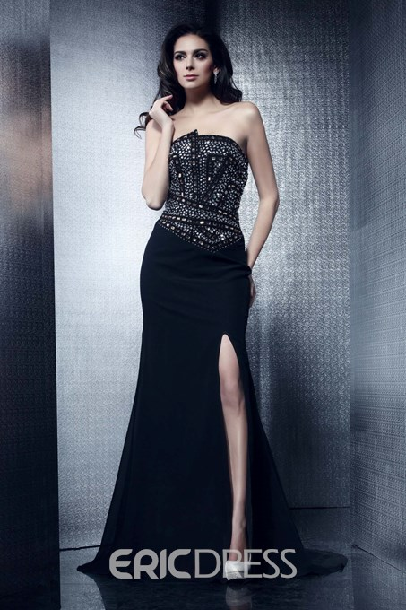 Ericdress Strapless Beading Split-Front Mother of the Bride Dress