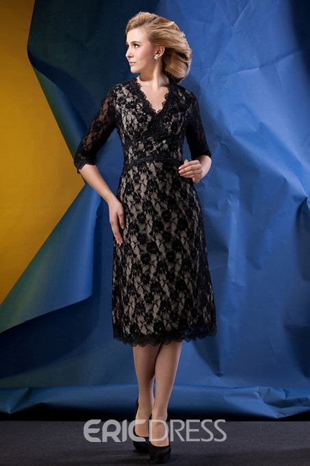 Ericdress Lace Sheath Half Sleeves Tea Length Mother of the Bride dress