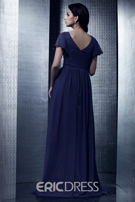 Chic Ruched A-Line Floor-Length V-Neck Taline's Mother of the Bride Dress