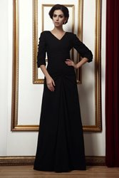 Image of Fashion V-Neck Half-Sleeves Floor-length Mother of the Bride Dress