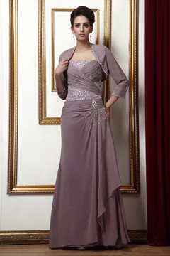 Fabulous Beading Sequins A-Line Strapless Mother of the Bride Dress With Jacket/Shawl
