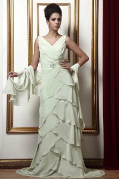 Charming Tiered Ruffles A-Line Beading V-Neck Taline's Mother of the Bride Dress With Jacket/Shawl