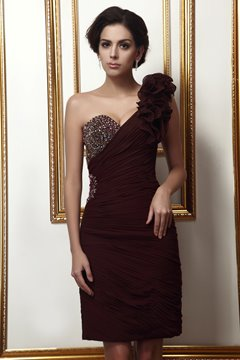 Elegant Beading Pleats Ruffles Sheath One-Shoulder Knee-Length Mother of the Bride Dress