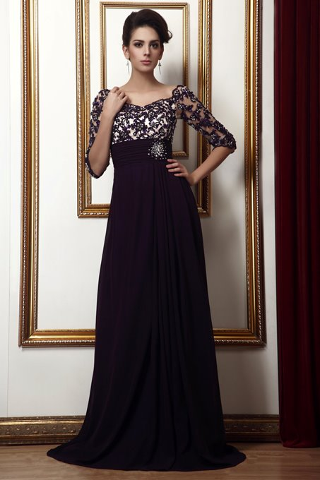 Ericdress Lace Empire Waist Long Mother of the Bride Dress
