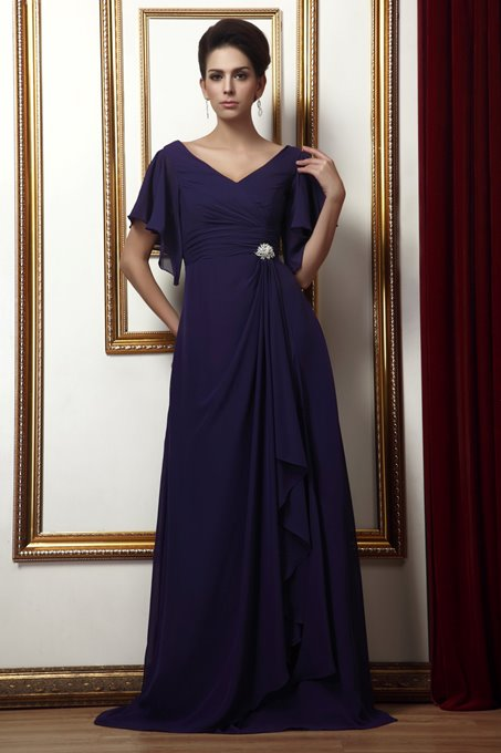 Ericdress Short Sleeves Chiffon Mother of the Bride Dress