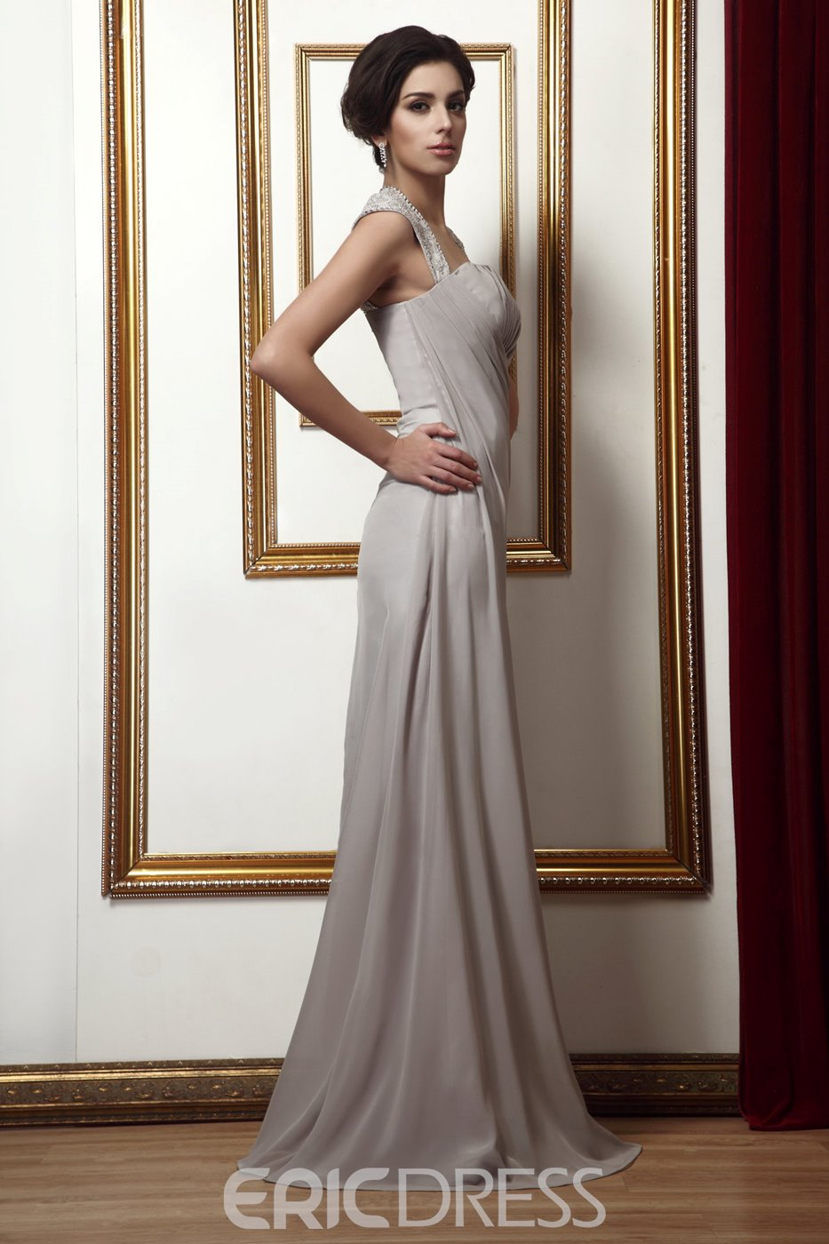 Attractive Pleats Beading/Sequins Sheath/Column Floor-Length Mother of the Bride Dress