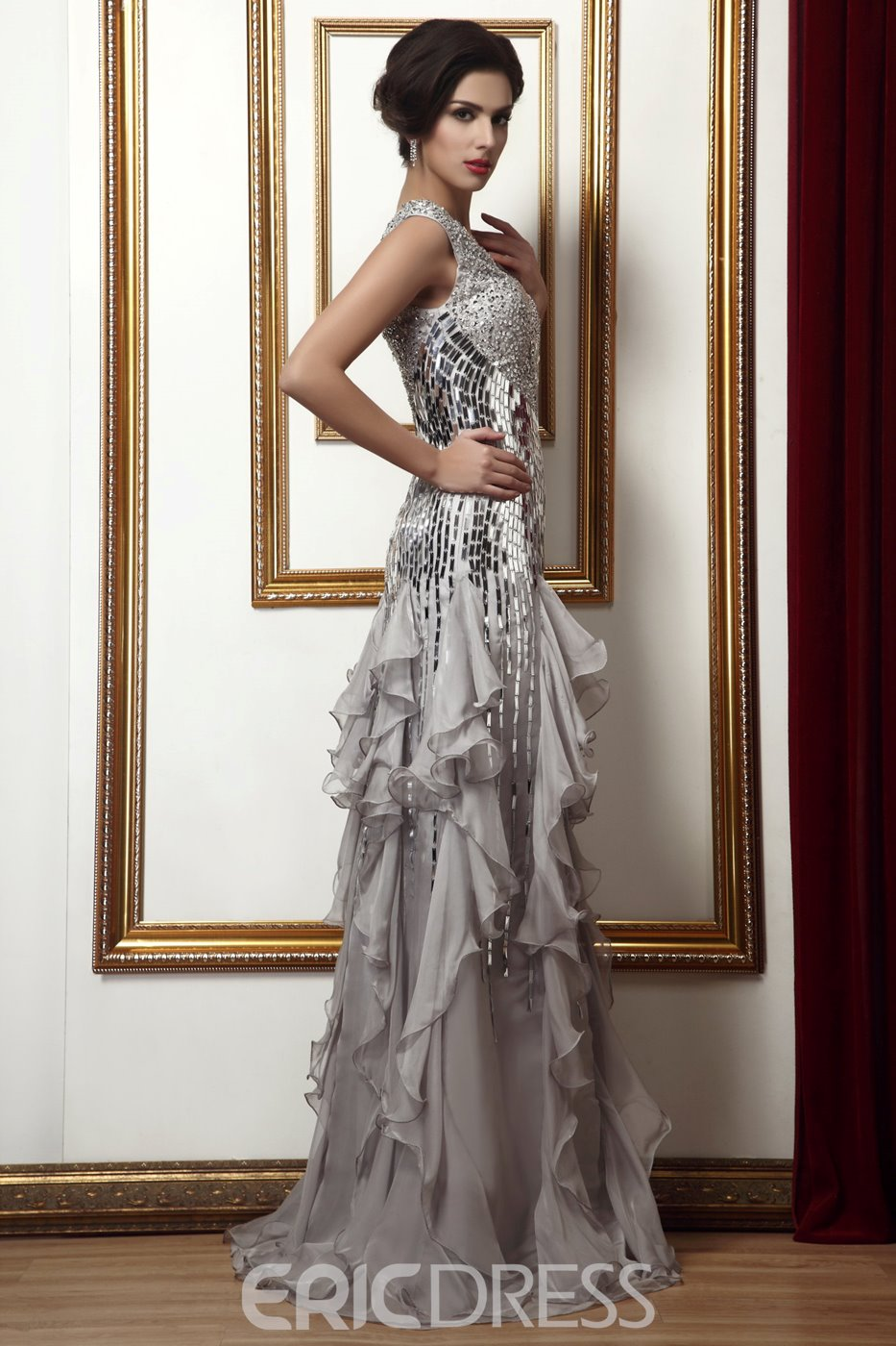 Attractive Beading/Sequins Floor-Length Tiered V-Neck Mother of the Bride Dress