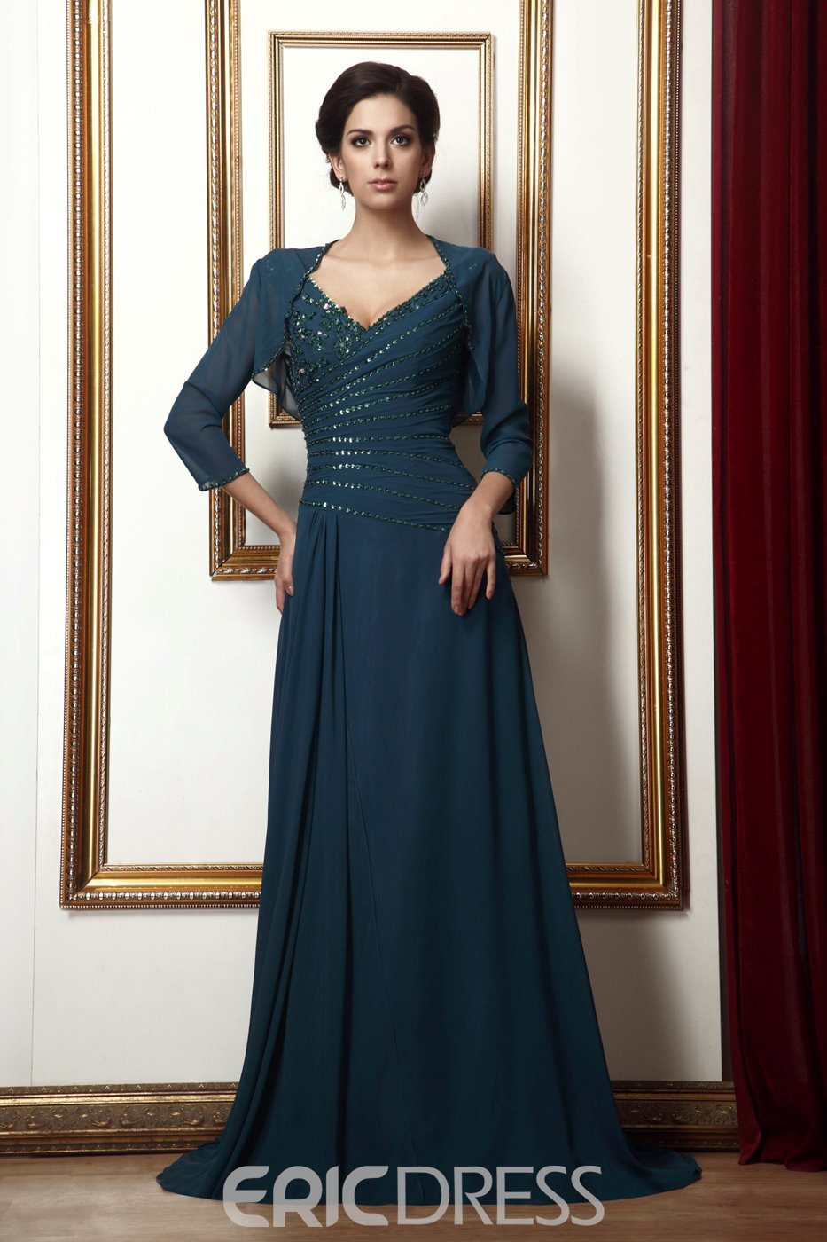 Marvelous Appliques A-Line Floor-Length V-Neck Taline's Mother of the Bride Dress With Jacket/Shawl
