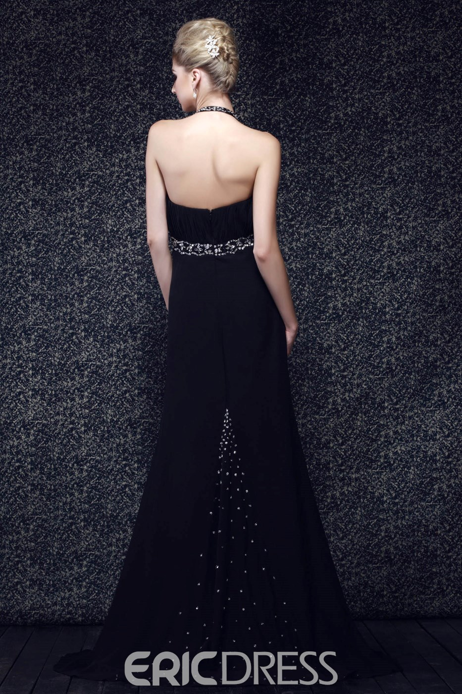 Slit V neck with Beaded Halter in Empire Sheath Slit Skirt Sexy Dasha's Evening Dress