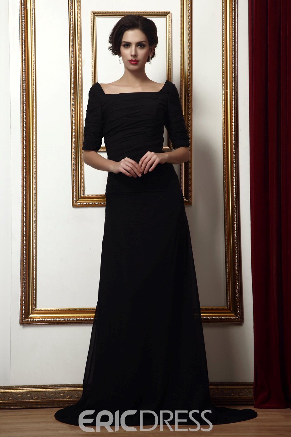 Graceful Square Neckline Short-sleeves Sweep/Brush Train Taline's Mother Of The Bride Dress