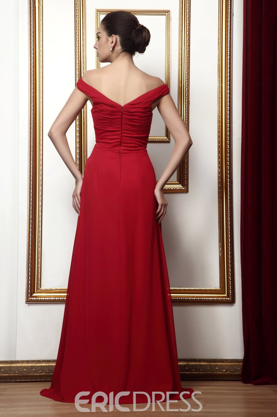 Sexy V-neck A-line Rouched Bodice with Floor Length Mother of Bride Dress