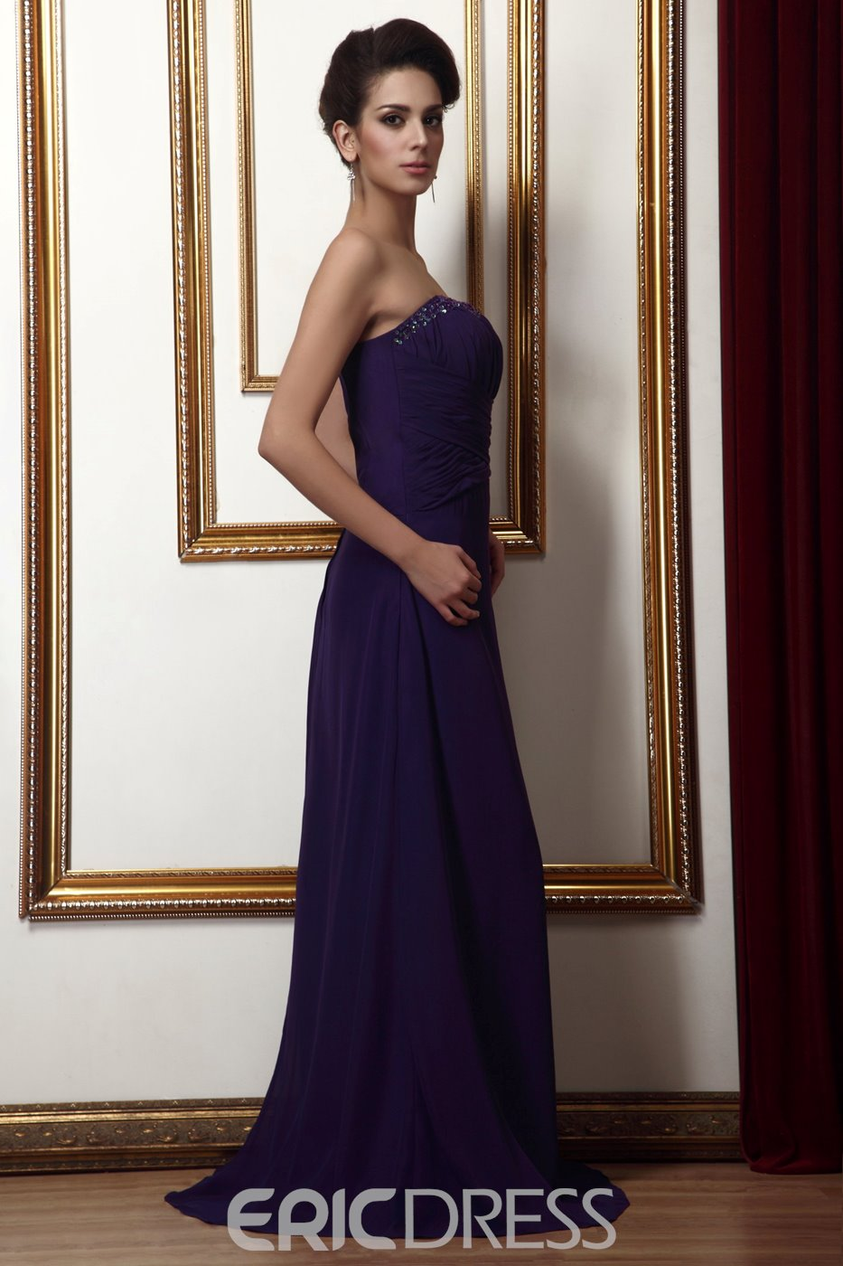 Royal A-Line Floor-Length Strapless Pleats Taline's Mother of Bride Dress With Jacket/Shawl