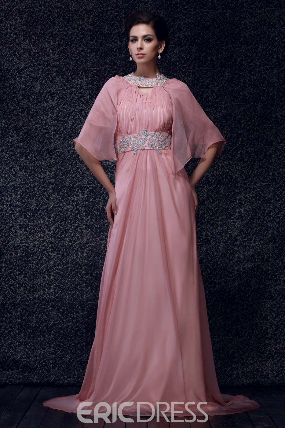 A-line Halter 3/4 Long Sleeves Mother of Bride Dress