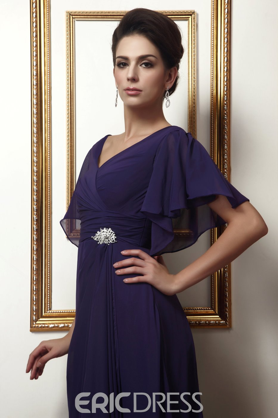 Fabulous Long A-Line Short-Sleeves V-neck Mother of the Bride Dress