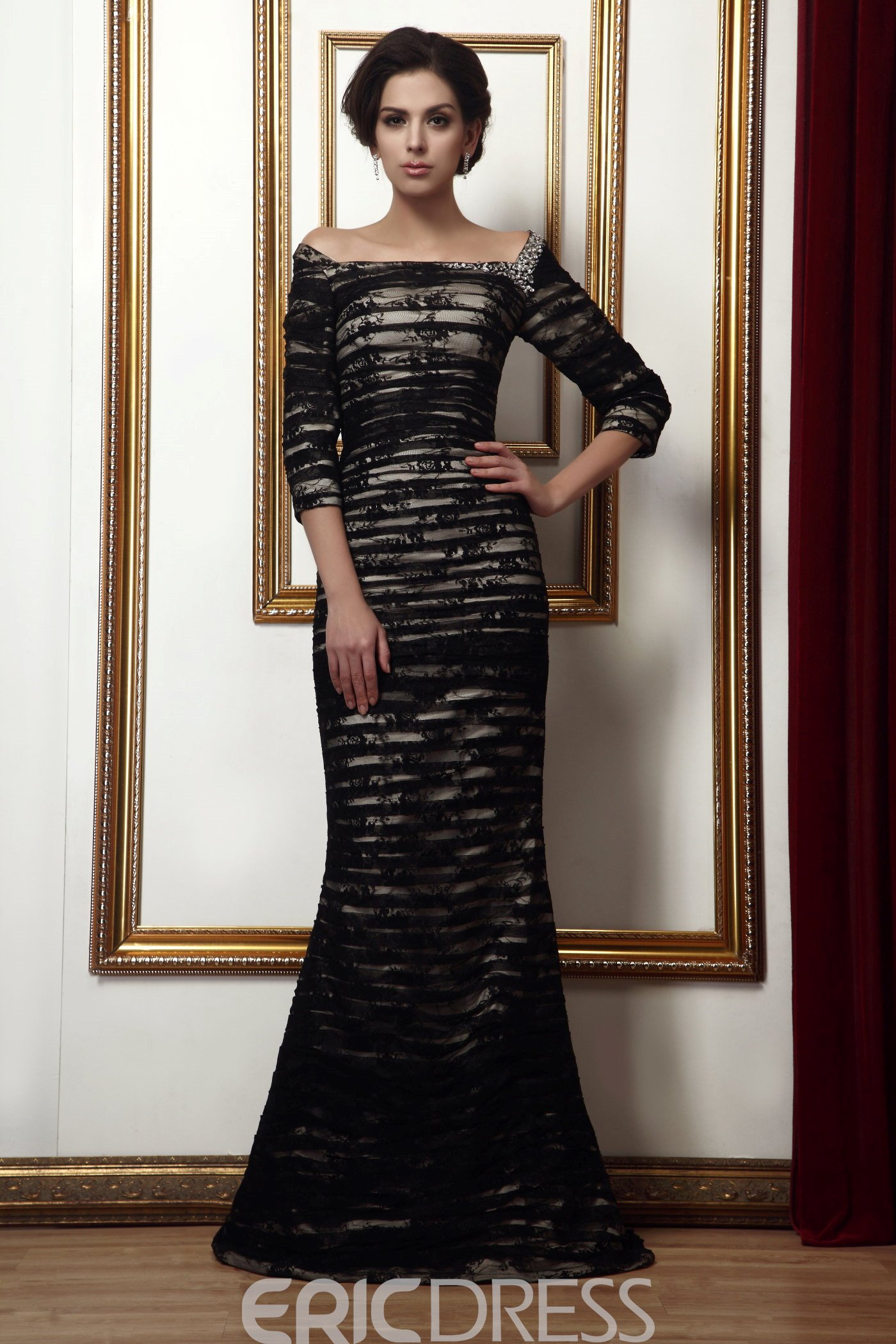 Sexy Beaded Sheath/Column Off-the-Shoulder Floor-Length Taline's Mother of the Bride Dress