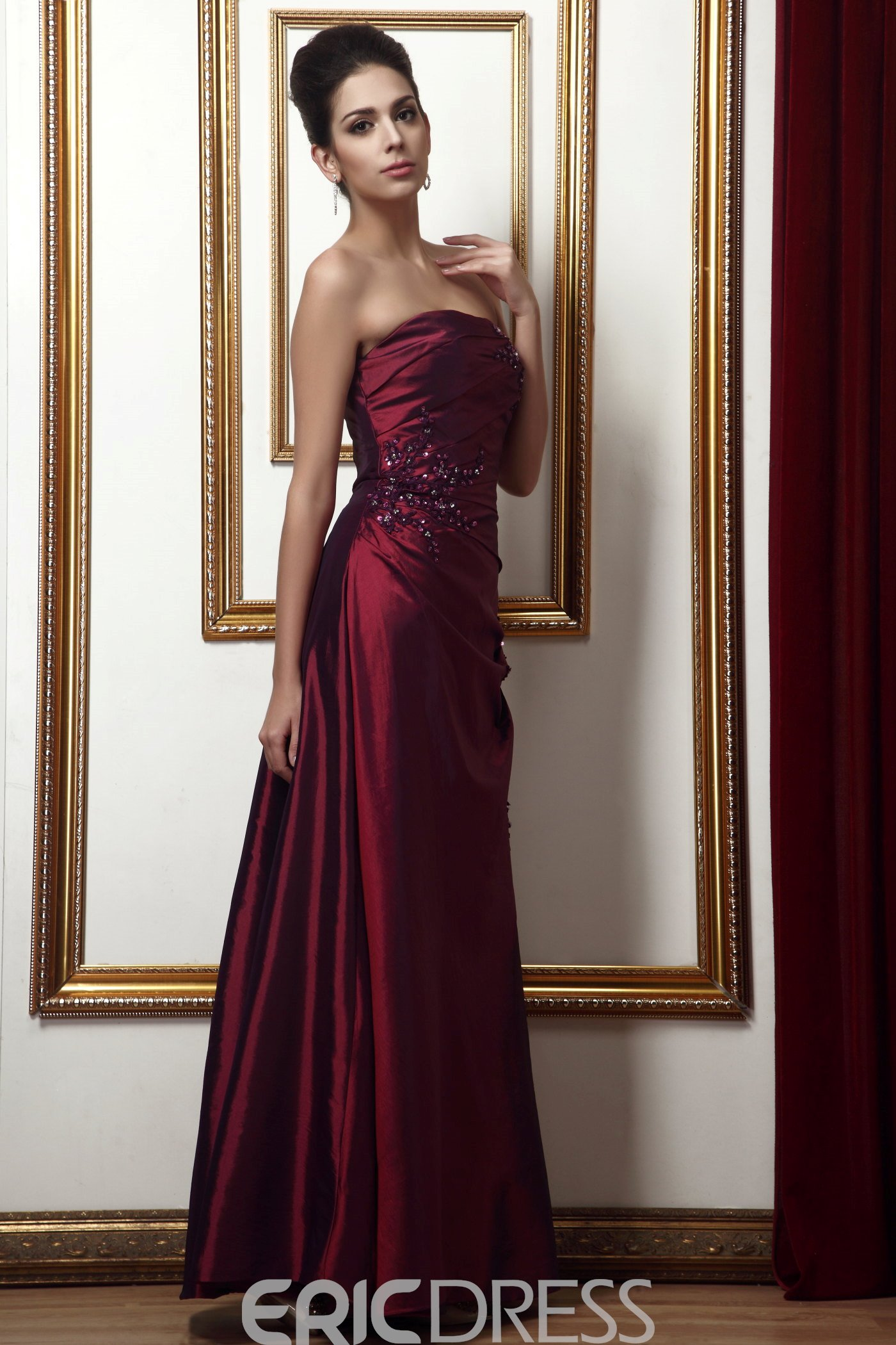 Fashionable Beading Sequins A-Line Strapless Long Mother of the Bride Dress With Jacket/Shawl