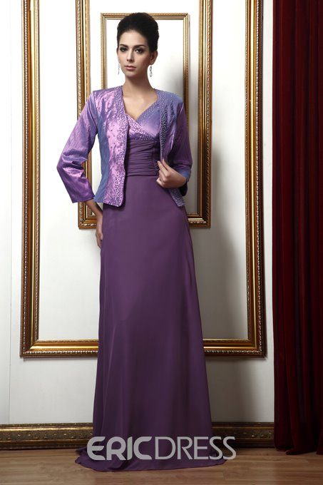 Attractive A-line V-neck Beading Long Mother of the Bride Dress With Jacket/Shawl
