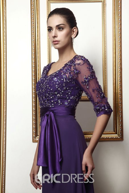 Delicate Lace A-line Empire Waist V-Neck 3/4-Sleeves Mother Dress