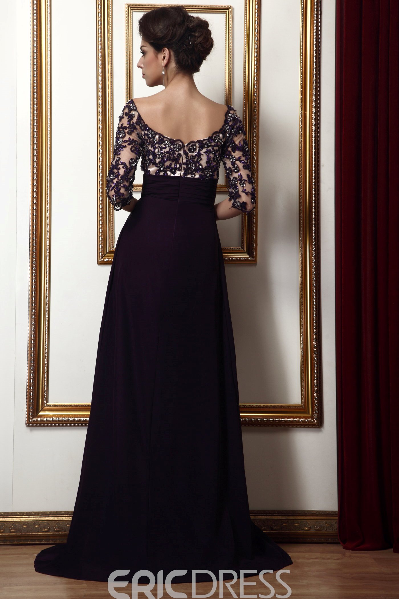 Ericdress Lace Empire Waist Off-the-Shoulder Long Taline's Mother of the Bride Dress