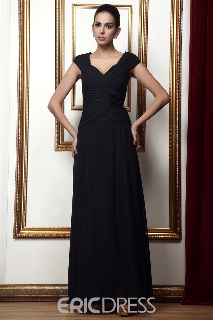 Gorgeous A-line V-Neck Flower Draped Ankle-Length Taline's Mother of the Bride Dress