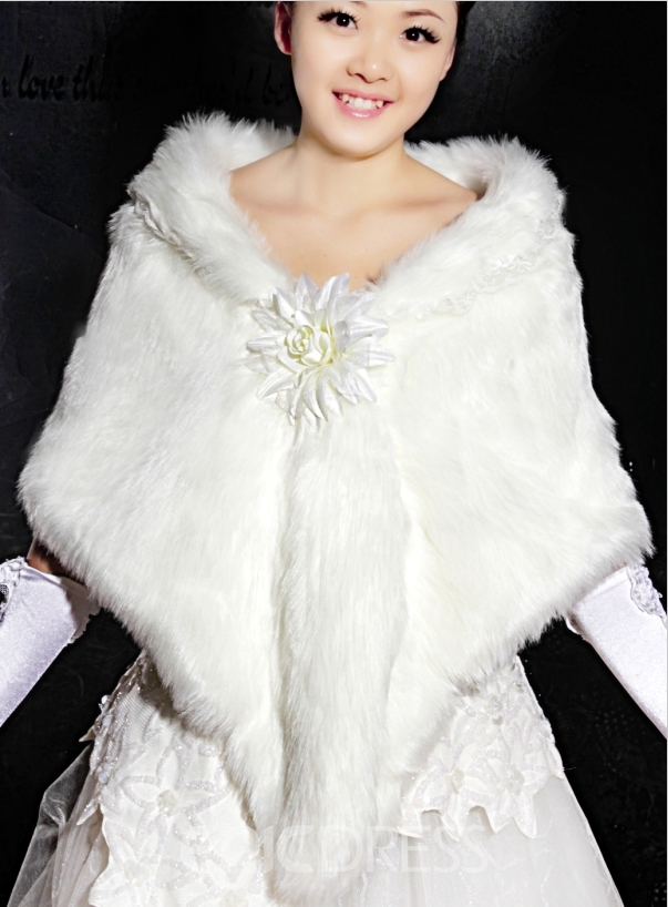 Amazing Long Faux Fur Wedding Jacket/Wrap/Shawl with Flower