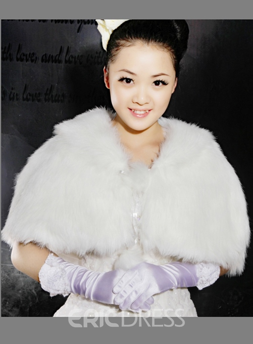 Elegant Faux Fur Wedding Jacket/Wrap/shawl with Collar