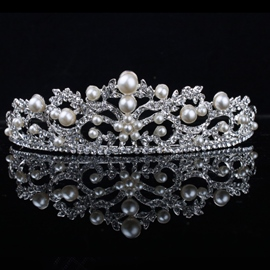 Celebrity Alloy with Pearls&Rhinestone Bridal Tiara