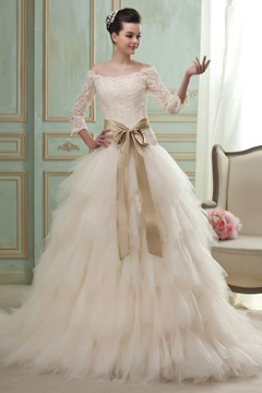 Ericdress A-Line/Princess off-the-Shoulder 3/4-Length Sleeves Chapel Tiered Wedding Dress