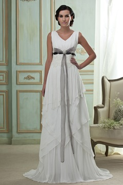 Incredible Empire V-neck Sleeveless Court Train Tiered Wedding Dress