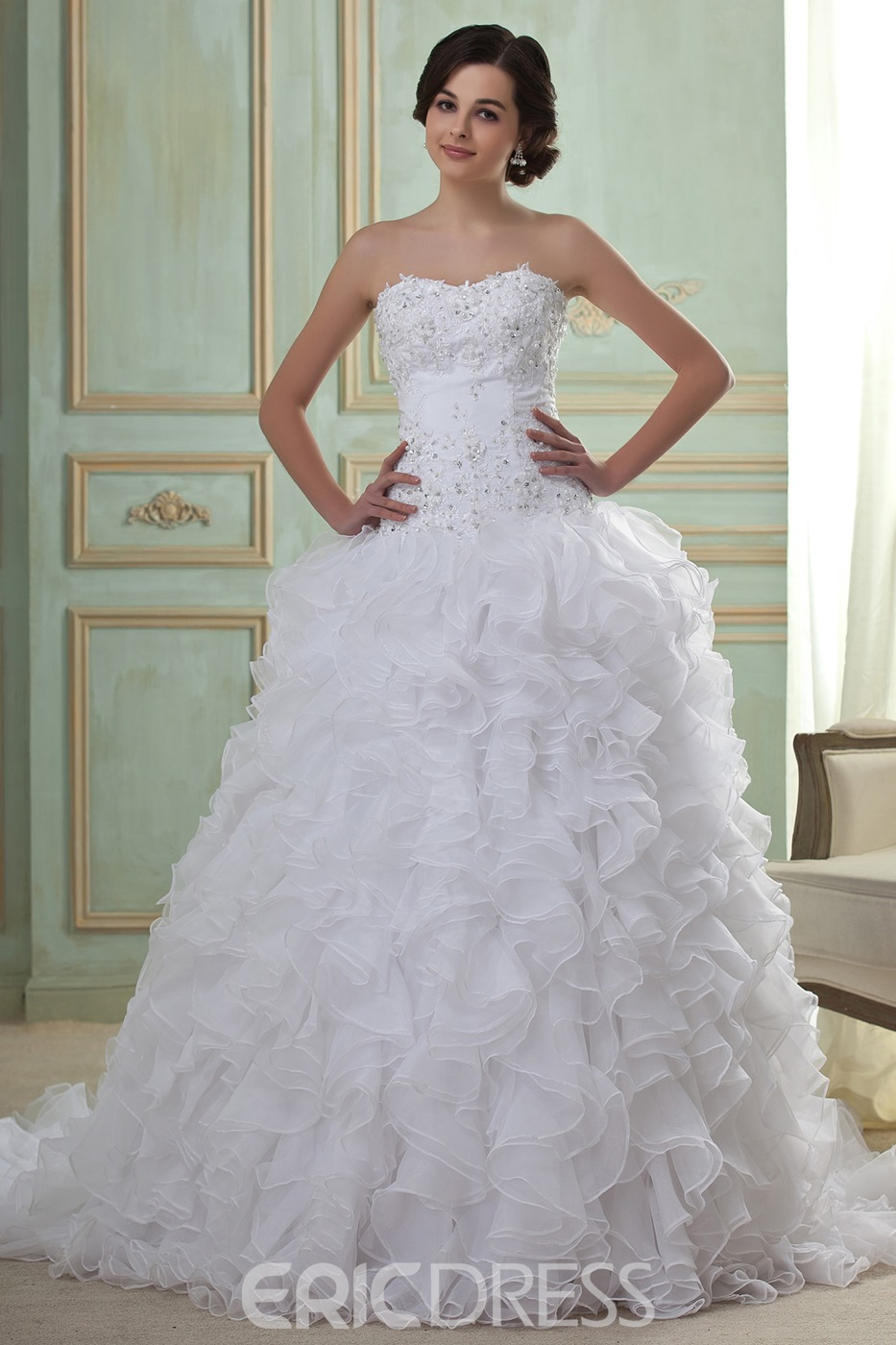 Awesome Ball Gown Sweetheart Floor-Length Sweep Pleats Beadings ...