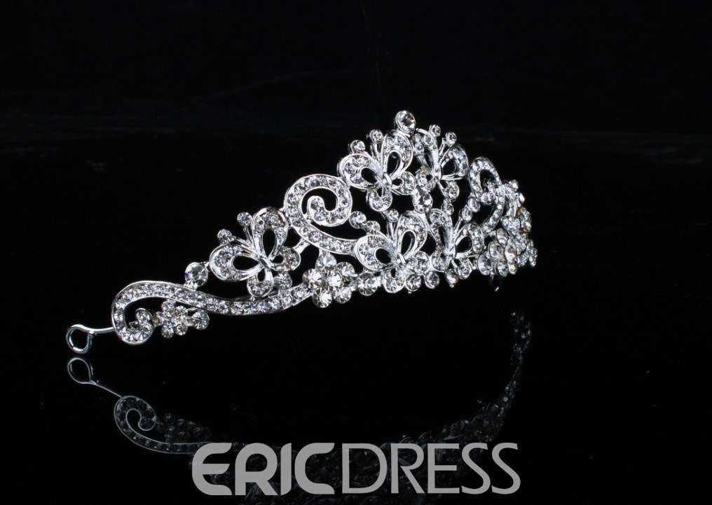 Glamorous Butterfly Shaped Rhinestone Wedding Tiara