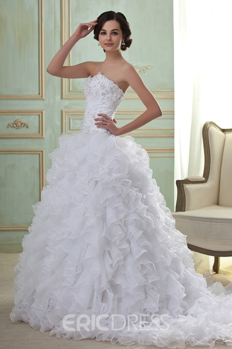 Awesome Ball Gown Sweetheart Floor-Length Sweep Pleats Beadings Wedding Dress