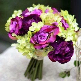 Fascinating Sphere Shaped Purple Rose Wedding Bridal Bouquet
