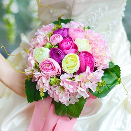 Pretty Sphere Shaped Pink Cloth Wedding Bridal Bouquet with Pink Ribbon