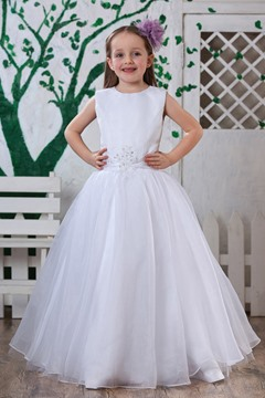 A-Line Round-neck Floor-Length Flower Girls Dress