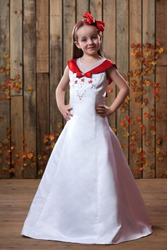 A-Line V-neck Tea-length Flower Girls Dress