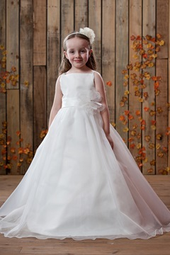 A-Line/Princess Floor length Satin Flower Girl Dress for bridal