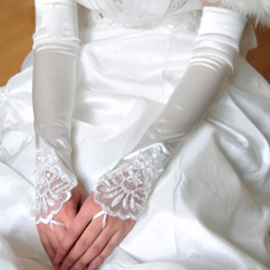 Incredible Lengthened Fingerless Plain Satin Bridal/Wedding Gloves with Lace Applique(3colors)