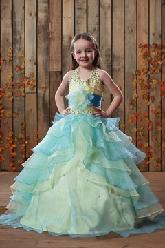 Ericdress Ball Gown Halter Beading Tiered Flower Girl Dress