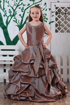 Fresh Ball Gown Bateau Beading Sleeveless Flower Girls Dress