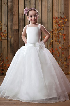 Cute Straps Square Ankle-length Flower Girl Dress