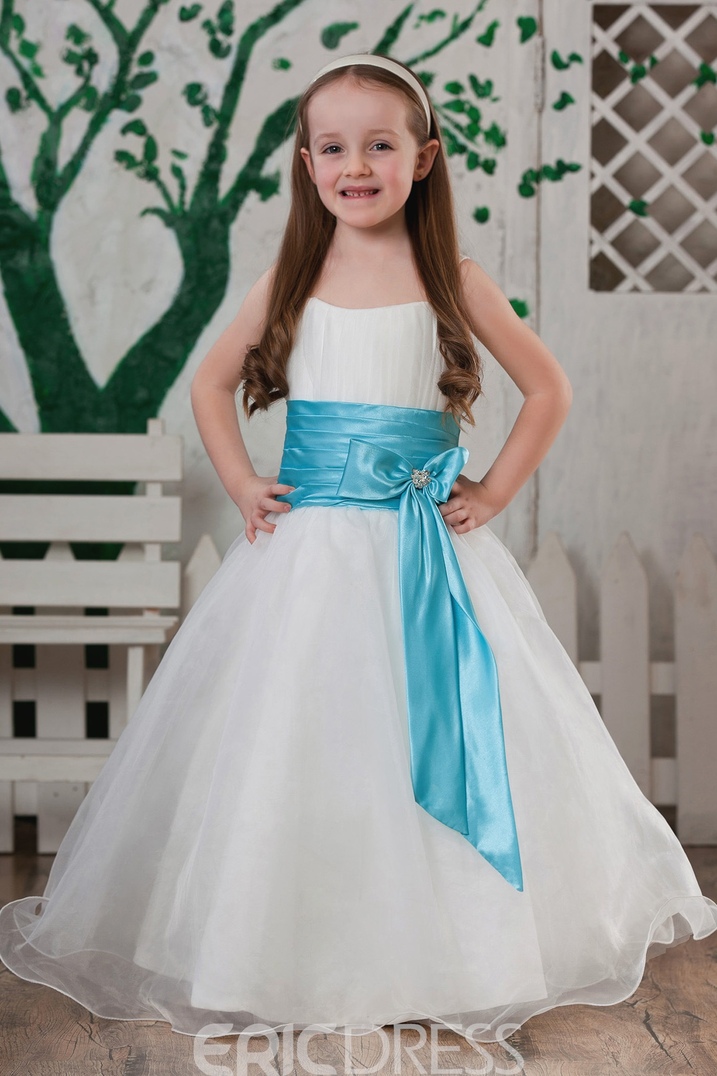 Attractive A-line Knee-length Square Bowknot & Sash Flower Girl Dress