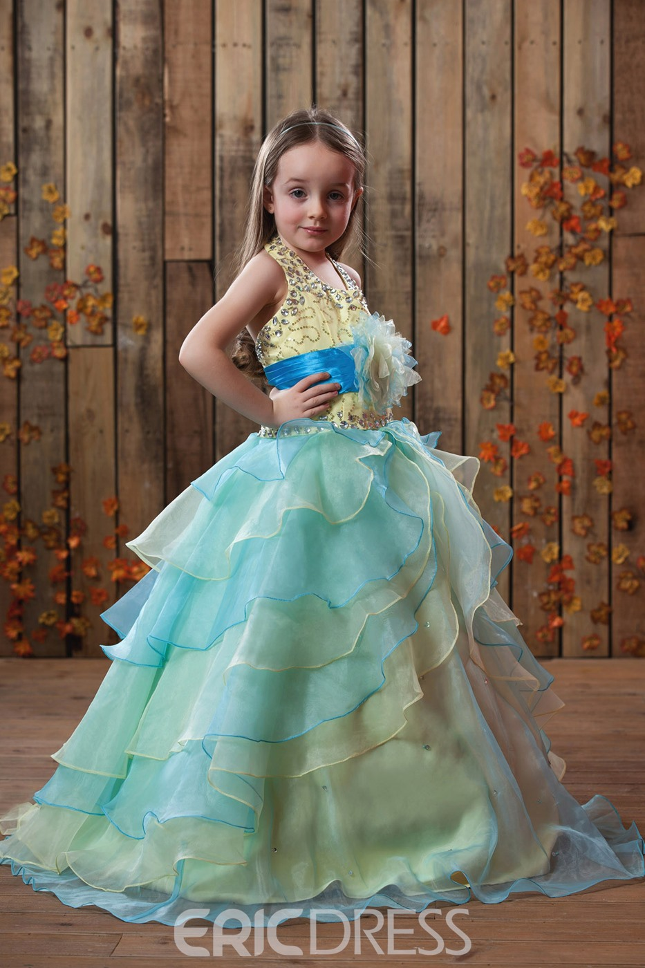 Beautiful Ball Gown Halter Tiered Floor-length Flower Girl Dress