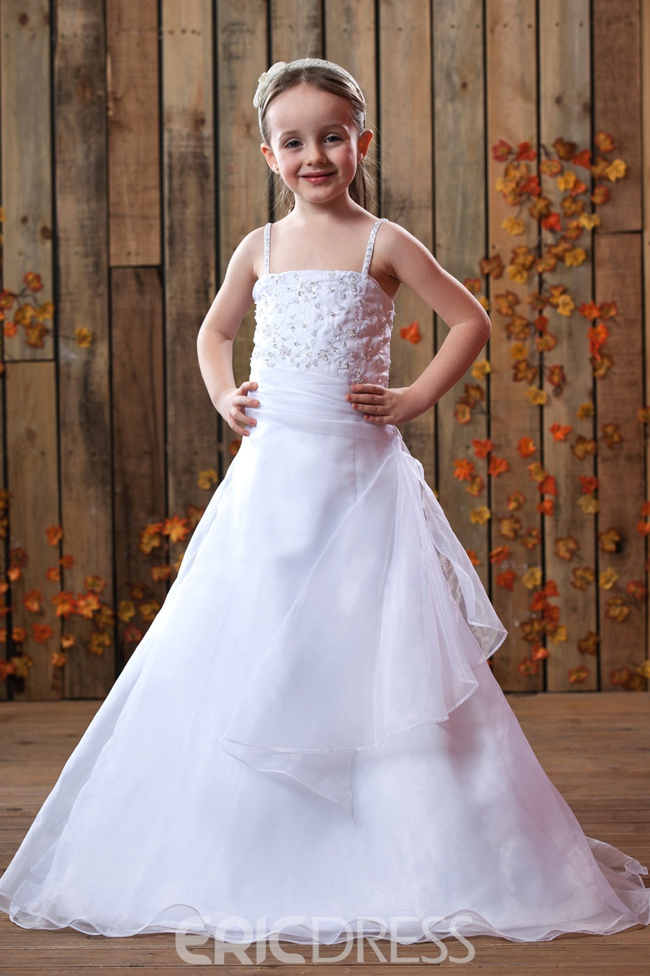 d985cd8688 A-Line Spaghetti Straps Floor-Length Satin Flower Girls Dress ...